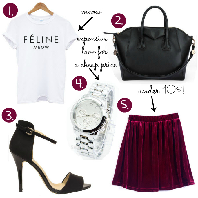 Cheap Friday, Ebay bargains, Ebay wishlist, cheap clothes, velvet burgundy skirt, feline meow t shirt, black classical bag ebay, silver watsch for a cheap price, zara like heels sandals